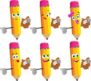 Set of happy pencils with lyre Royalty Free Stock Image