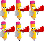 Set of happy pencils with megaphone and holding a stop sign Royalty Free Stock Photography