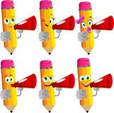Set of happy pencils with megaphone and pointing at viewer Royalty Free Stock Photo