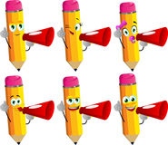 Set of happy pencils with megaphone Royalty Free Stock Image