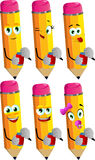 Set of happy pencils opening a beer can Royalty Free Stock Photography