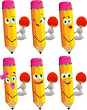 Set of happy pencils playing ping pong Royalty Free Stock Image