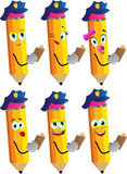 Set of happy pencils policeman checking papers Stock Image
