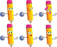 Set of happy pencils rolling a bowling ball Royalty Free Stock Photo