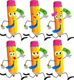 Set of happy pencils running with money Stock Photography
