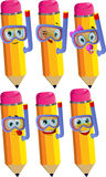 Set of happy pencils scuba diver Royalty Free Stock Images