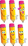 Set of happy pencils showing time out sign Royalty Free Stock Image