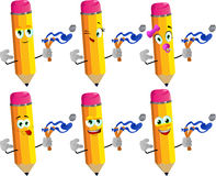 Set of happy pencils with a slingshot Stock Image