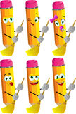 Set of happy pencils sweeping with broom Royalty Free Stock Photography