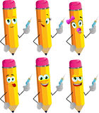 Set of happy pencils with syringe Royalty Free Stock Photo
