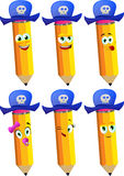 Set of happy pencils wearing pirate hat Stock Images