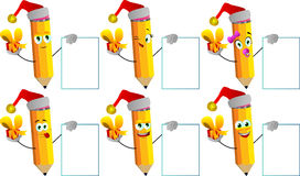 Set of happy pencils wearing Santa's hat, holding gift box and big blank board Royalty Free Stock Photo