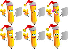 Set of happy pencils wearing Santa's hat, holding gift box and blank paper Royalty Free Stock Images