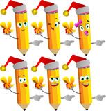 Set of happy pencils wearing Santa's hat, holding gift box and pointing Royalty Free Stock Image