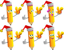 Set of happy pencils wearing Santa's hat, holding gift box and showing thumb up Stock Image