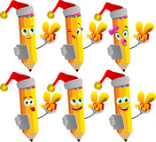 Set of happy pencils wearing Santa's hat, holding gift box and tablet Stock Photo