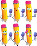 Set of happy pencils with wine glass Stock Photography