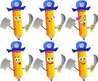 Set of happy pirate pencils with blank paper and sword Stock Photos