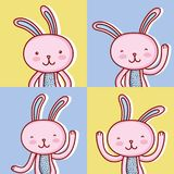 Set happy rabbit easter celebration holiday. Vector illustration Stock Photo