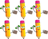 Set of happy rich pencils with an envelope Stock Photography