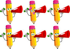 Set of happy rich pencils with megaphone Royalty Free Stock Photo