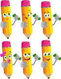 Set of happy rich pencils pointing at viewer Stock Photos