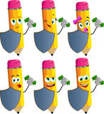 Set of happy rich pencils with shield Royalty Free Stock Photo