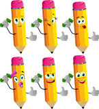 Set of happy rich pencils showing thumb up Royalty Free Stock Photos