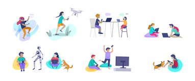 Set of Happy school children performing various activities or hobbies, playing games on computer or console, programming stock illustration