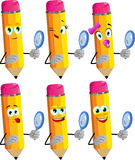 Set of happy searching pencils with magnifying glass Stock Photo
