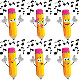Set of happy singing pencils Royalty Free Stock Images