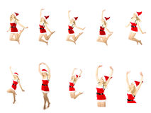 Set of Happy smiling woman in red xmas costume jumping high Royalty Free Stock Photography