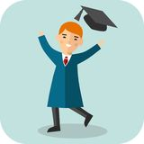 Set of happy student in graduation gown and mortarboard. Illustration of graduate with background of education icons Royalty Free Stock Photo