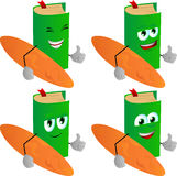 Set of happy surfer book with thumb up Royalty Free Stock Photo