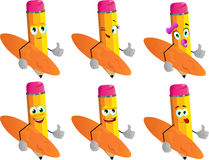 Set of happy surfer pencils with thumb up Royalty Free Stock Photos