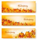 Set of Happy Thanksgiving banners with autumn vegetables royalty free illustration