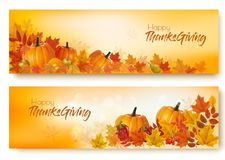 Set of Happy Thanksgiving banners with autumn vegetables vector illustration
