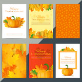 Set of happy thanksgiving day greeting card. Autumn holiday vector background. Pumpkin with fall leaves decoration and text. Giving thanks social media banner stock illustration