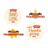 Set of happy thanksgiving day typography text with dried leave background. Autumn fall concept design. Logo, badge, sticker, icon. Banner vector graphic. eps stock illustration