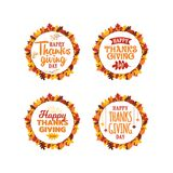 Set of happy thanksgiving typography text with autumn fall leaves frame ornament. Logo, icon, banner, badge, sticker vector design. Eps 10 vector illustration