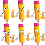 Set of happy thief pencils holding a sack Stock Images