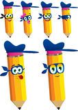 Set of happy thief pencils with mask Stock Photo