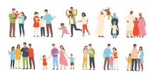 Set of happy traditional heterosexual families with children. Smiling mother, father and kids. Cute cartoon characters. Isolated on white background. Colorful vector illustration