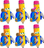 Set of happy travelling pencils Stock Images