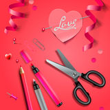 Set Of Happy Valentine's Day art craft objects. Vector Eps10 Stock Photos