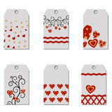 Set of Happy Valentine's Day gift tags. Royalty Free Stock Photo