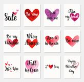 Set of Happy Valentine`s Day greeting cards. Royalty Free Stock Images