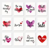 Set of Happy Valentine`s Day greeting cards. Royalty Free Stock Image