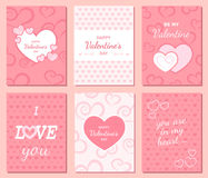 Set of Happy Valentine`s Day greeting and invitation cards. Hearts, inscription in the middle. Festive romantic cute love background. Poster design. Vector Stock Photos
