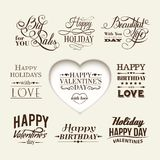 Set of happy valentine's day hand lettering. Royalty Free Stock Photos